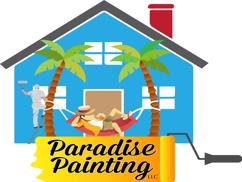 Picture of Paradise Painting LLC's painting company logo of Grand Blanc of a man sitting on a hammock held by two palm trees having a margarita relaxing while a painter is in the background painting his blue house
